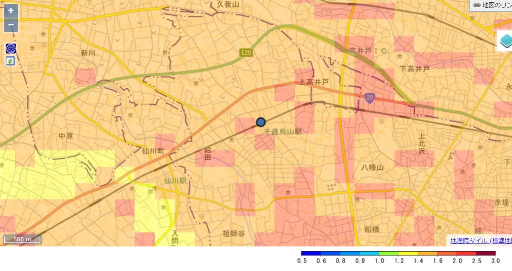 千歳烏山駅周辺の「地震の揺れやすさ」を表したマップ