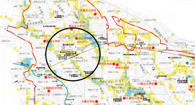 世田谷区の洪水ハザードマップ