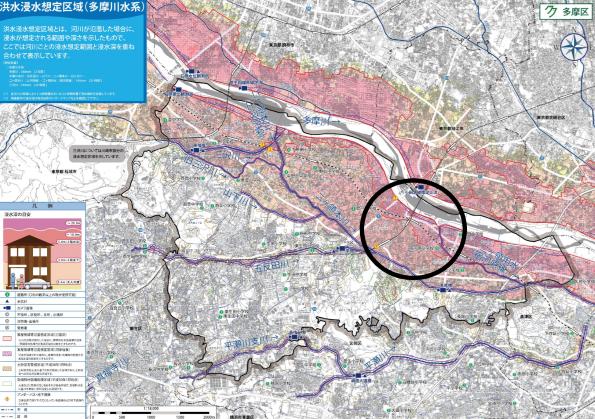 神奈川県川崎市多摩区の洪水ハザードマップ