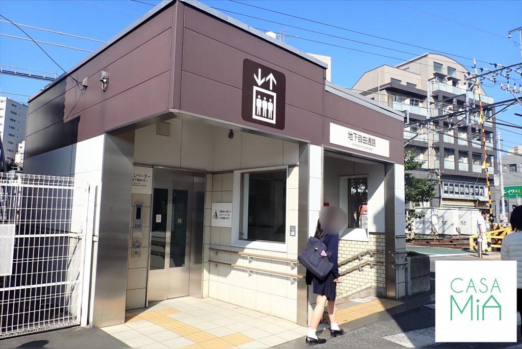 南口駅のエレベーターと地下自由通路