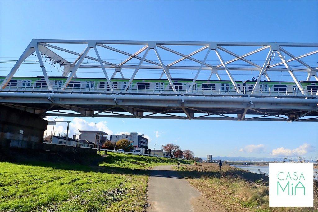 電車が通る橋の下の河川敷