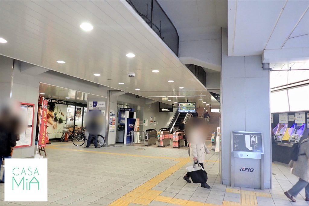 京王稲田堤駅の南口を出たところ