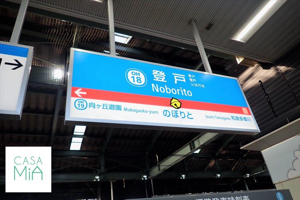 ドラえもん仕様のデザインの駅看板