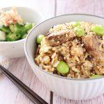 鯖缶は最強食材♪「鯖と塩昆布の炊き込みご飯」のレシピ