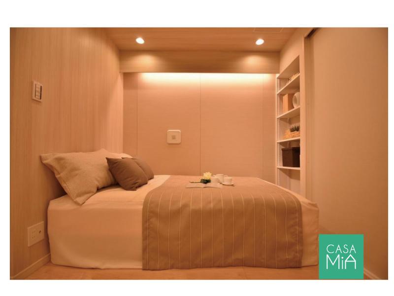 収まりの良いベッドスペース|オープン棚付|マートルコート自由が丘Ⅱ