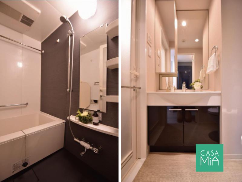 お風呂と洗面化粧台は少しシックな印象! コージーコート二子玉川