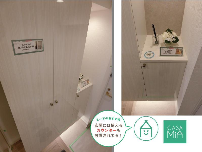 玄関収納には便利なカウンターも設置|メゾン文京関口Ⅱ