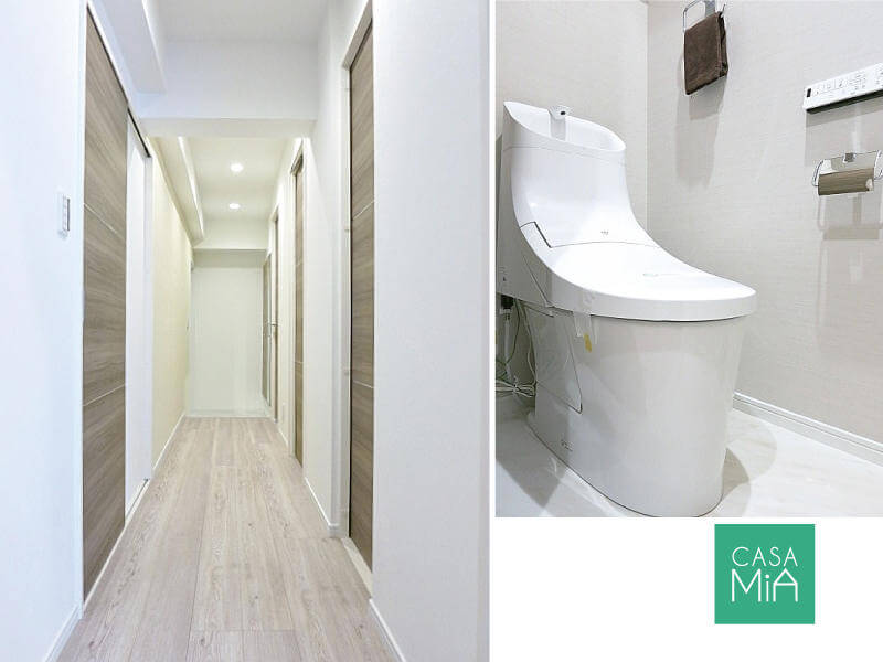 玄関とトイレ。リノベーションされていると気持ちいいです|MMビル