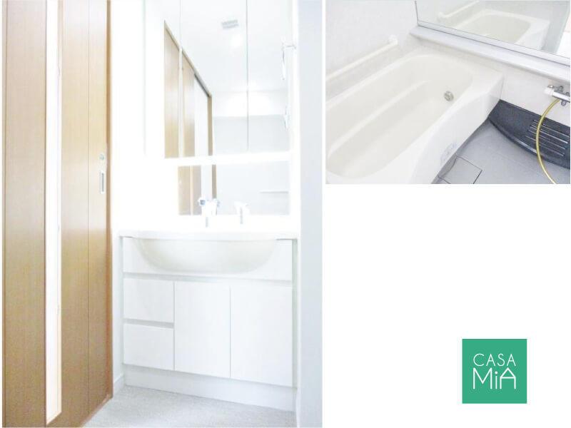 洗面化粧台とバスルーム。パウダールームは引戸なので使い勝手◎|日神デュオステージ浜田山